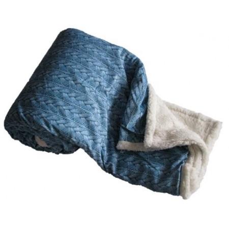 Hřejivá deka z mikroflanelu Beránek, pratelná, 150x200 cm, modrá
