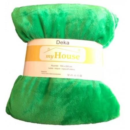 Hebká hřejivá deka z mikrovlákna, 150x200 cm, zelená