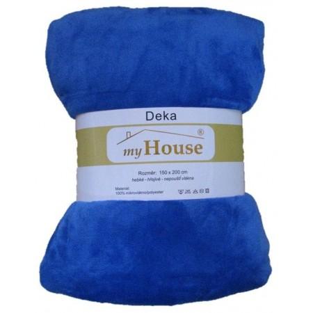 Hebká hřejivá deka z mikrovlákna, 150x200 cm, modrá