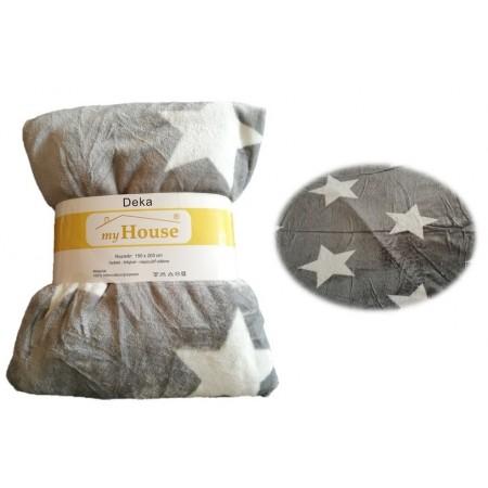 Pohodlná měkká deka z mikrovlákna, 150x200 cm, šedá / hvězdy