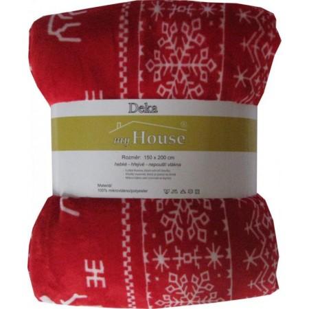 Pohodlná měkká deka z mikrovlákna, 150x200 cm, potisk sobi - červená