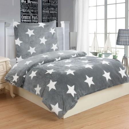Mikroplyšové ložní prádlo STARS GREY