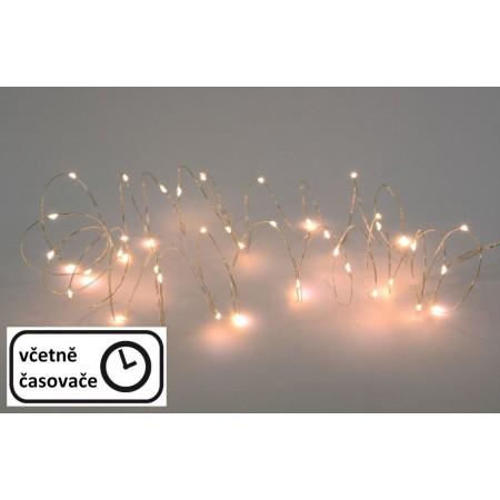 Vánoční LED světelný řetěz na drátku, teple bílé diody, časovač, 7,9 m