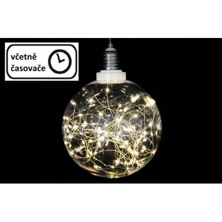Vánoční svítící baňka na baterie, 30 LED diod, venkovní / vnitřní, průměr 12 cm