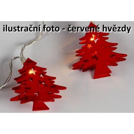 Vánoční výzdoba - svítící řetěz do interiéru, červené hvězdy, na baterie, 10 hvězd