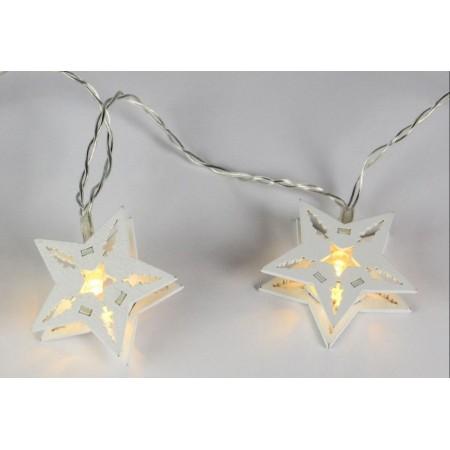 Vánoční výzdoba - svítící řetěz do interiéru, bílé hvězdy, na baterie, 10 hvězd