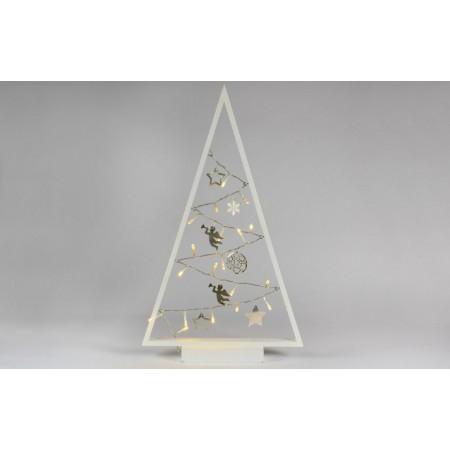 Světelná vánoční výzdoba - stromeček do interiéru, na baterie, bílý, 20 LED, 50 cm