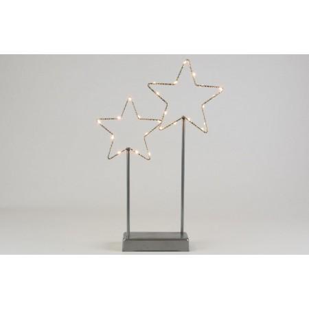 Vánoční výzdoba do okna / na stůl - svítící kovové hvězdy, vnitřní, na baterie, 37 cm