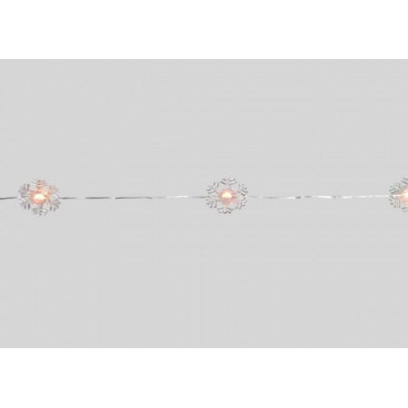 Vánoční světelný řetěz na baterie - sněhové vločky, vnitřní, 1,9 m