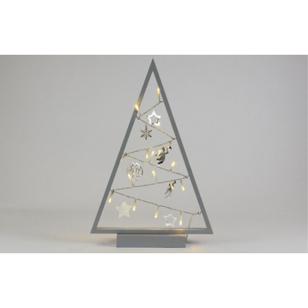Světelná vánoční LED výzdoba do bytu - stromeček, na baterie, šedý, vnitřní, 40 cm