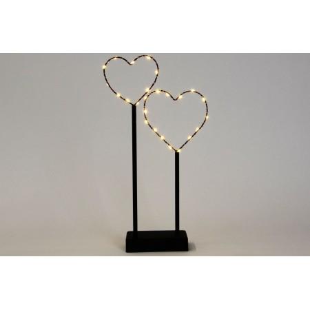 Osvětlená dekorace do interiéru - 2 srdce, kov, na baterie,vnitřní, 36 cm