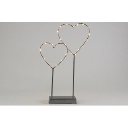 Osvětlená dekorace do interiéru - 2 srdce, kov, šedá, na baterie,vnitřní, 36 cm