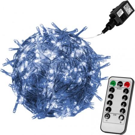 Vánoční LED řetěz blikající - 8 funkcí, venkovní / vnitřní, studeně bílý, průhledný kabel, ovladač, 20 m