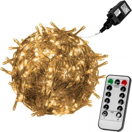 Vánoční LED řetěz blikající - 8 funkcí, venkovní / vnitřní, teple bílý, průhledný kabel, ovladač, 60 m