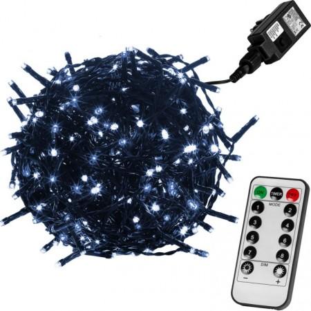 Vánoční LED řetěz blikající - 8 funkcí, venkovní / vnitřní, studeně bílý, zelený kabel, ovladač, 60 m