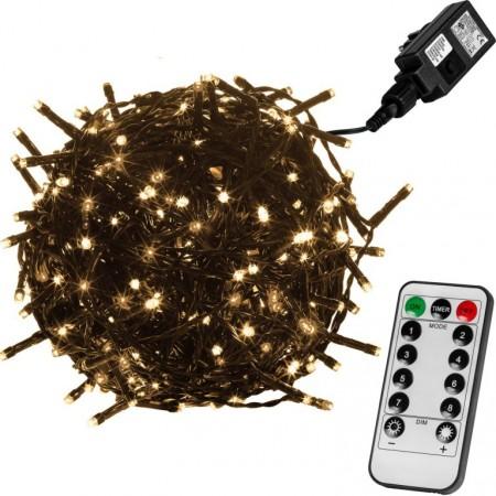 Vánoční LED řetěz blikající - 8 funkcí, venkovní / vnitřní, teple bílý, zelený kabel, ovladač, 60 m