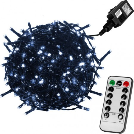 Vánoční LED řetěz blikající - 8 funkcí, venkovní / vnitřní, studeně bílý, zelený kabel, ovladač, 40 m