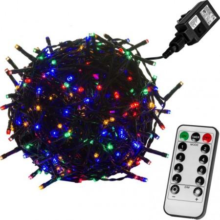 Vánoční LED řetěz blikající - 8 funkcí, venkovní / vnitřní, barevný, zelený kabel, ovladač, 10 m