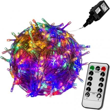 Vánoční LED řetěz blikající - 8 funkcí, venkovní / vnitřní, barevný, průhledný kabel, ovladač, 40 m