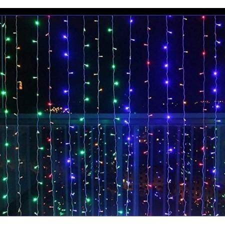 Vánoční světelný závěs na dům / do interiéru, voděodolný, barevný, 600 LED, 3x6 m