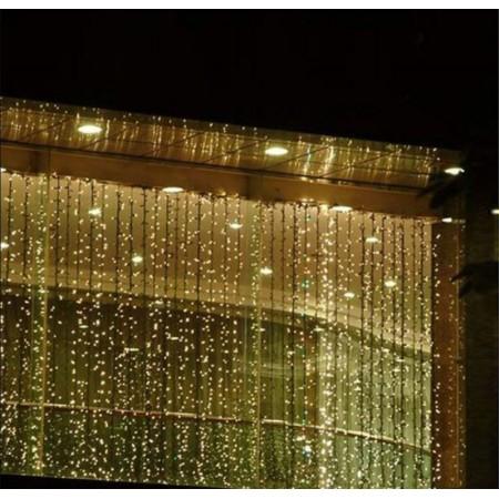 Vánoční světelný závěs na dům / do interiéru, voděodolný, teple bílý, 600 LED, 3x6 m
