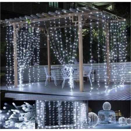 Světelný závěs voděodolný - na dům, pergolu, do výlohy, studeně bílý, 300 LED, 3x3 m