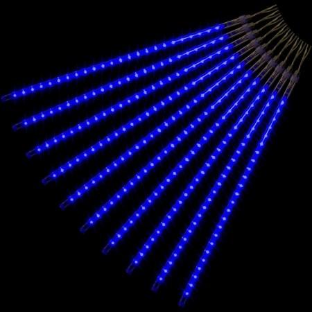 Vánoční osvětlení s efektem padajícího deště venkovní / vnitřní, modrá, 240 LED, 10 tyčí