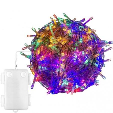 Vánoční LED řetěz na baterie venkovní / vnitřní, barevný, 10 m