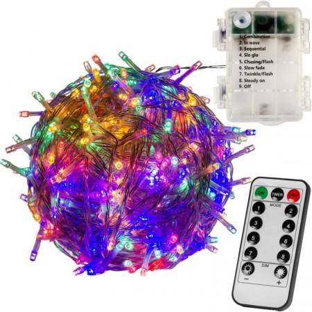 Dálkově ovládaný světelný vánoční řetěz na baterie, venkovní / vnitřní, barevný, 10 m