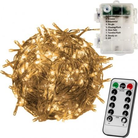 Světelný LED řetěz na baterie, dálkové ovládání, venkovní / vnitřní, 10 m