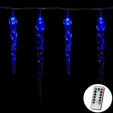Vánoční svítící rampouchy na dálkové ovládání, modré, 40 ks, 5,5 m