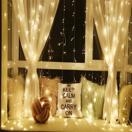 Vánoční světelný závěs do okna venkovní / vnitřní, teple bílý, 3x3 m