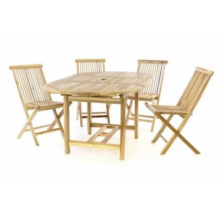 Teaková sestava zahradního nábytku pro 4, větší rozkládací stůl, neošetřený