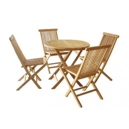 Skládací balkonový nábytek z teakového dřeva, 4 židle