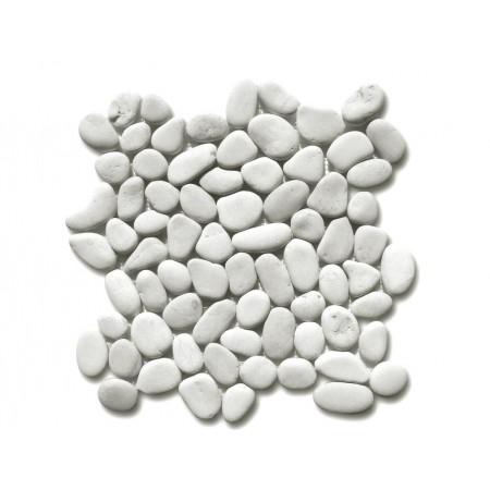 Obklad / dlažba - mozaika venkovní / vnitřní- světle šedé oblázky, 1x síťka 30x30 cm
