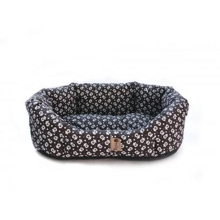 Luxusní pelíšek pro psy, hnědá + ornament, 50x40 cm
