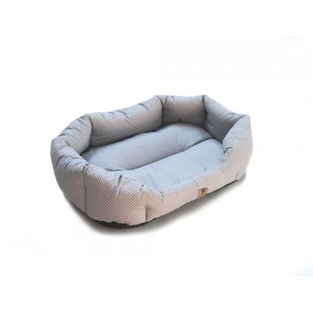 Měkký pelíšek pro psy, bavlna / duté vlákno, šedá + puntíky, 90x70 cm