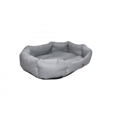 Měkký pelíšek pro psy, bavlna / duté vlákno, šedá + puntíky, 75x60 cm