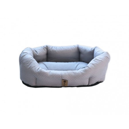 Měkký pelíšek pro psy, bavlna / duté vlákno, šedá + puntíky, 50x40 cm