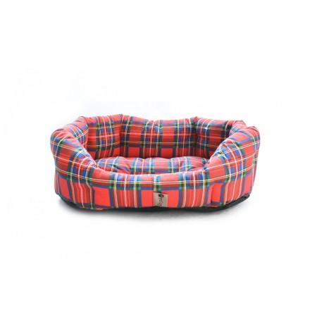 Měkký pelíšek pro psy, bavlna / duté vlákno, kostkovaný vzor, 50x40 cm