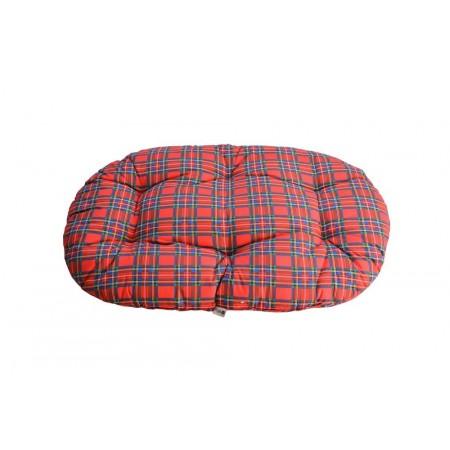 Pelíšek pro větší psy oválný, bez okraje, kostkovaný vzor, 120x70 cm