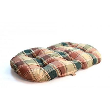 Pelíšek pro větší psy oválný, bez okraje, hnědá kostka, 120x70 cm