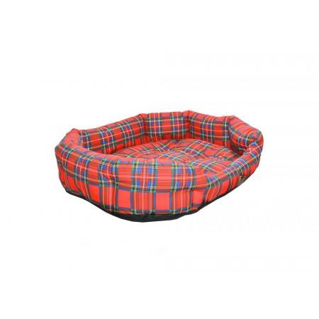 Měkký pelíšek pro psy oválný, s okrajem, kostkovaný vzor, 75x60 cm