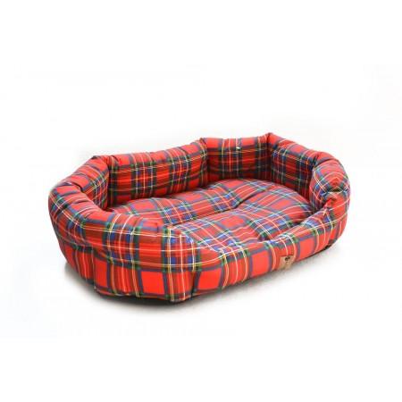 Měkký pelíšek pro psy oválný, s okrajem, kostkovaný vzor, 65x50 cm