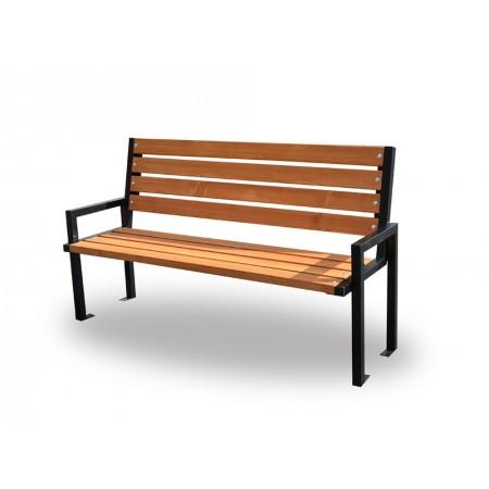 Lavička na zahradu / do parku, pevný kovový rám / dřevo, 166 cm