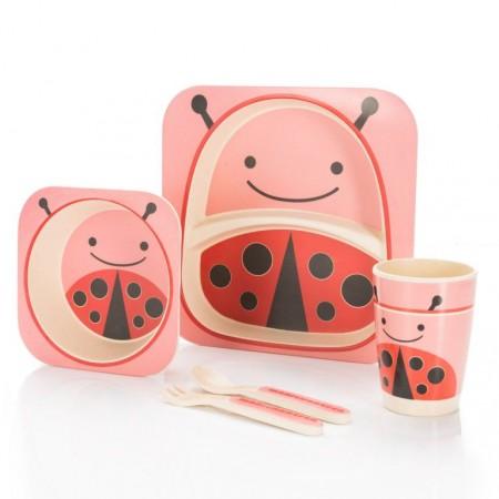 5 dílná sada dětského nádobí z bambusu - beruška
