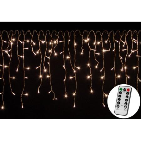 Vánoční LED světelný déšť na dálkové ovládání, venkovní / vnitřní, tepl. bílý, 10 m