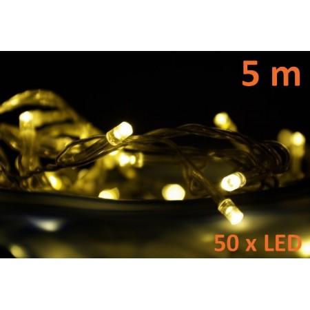 Vánoční LED řetěz interiérový, teple bílá, 5 m