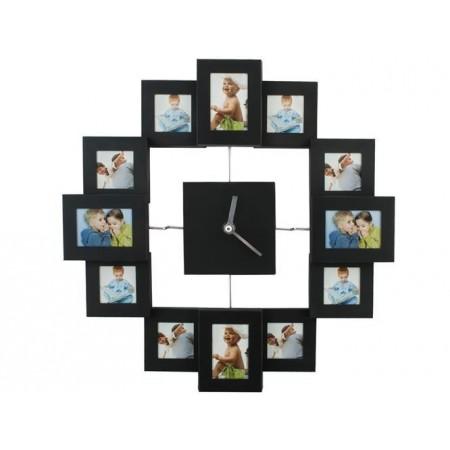 Hodiny s rámečky na fotografie, černé, průměr 35,5 cm