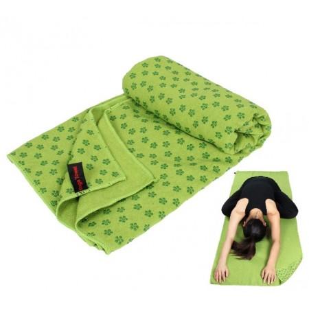 Ručník na jógu s protiskuzovou úpravou, vč. obalu, zelený, 183x61 cm